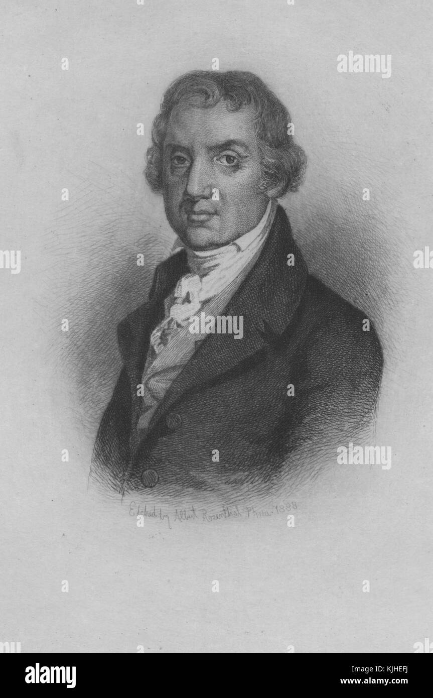 Etched portrait of Abraham Baldwin, a Founding Father of the United States, developer and founding president of - Stock Image