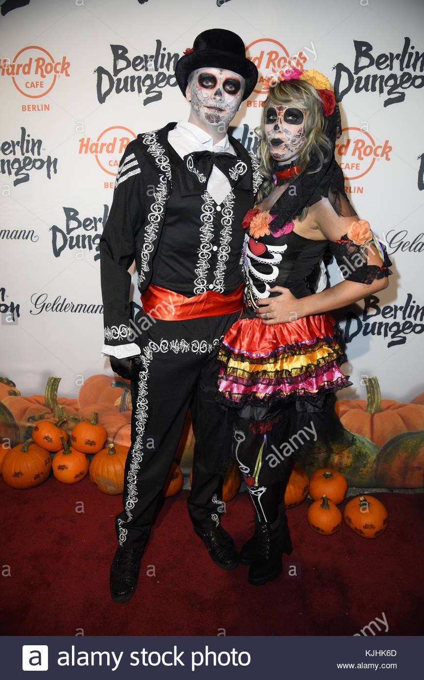 Halloween Party hosted by Natascha Ochsenknecht at Berlin Dungeon.  Featuring: her boyfriend, Annemarie Eilfeld - Stock Image