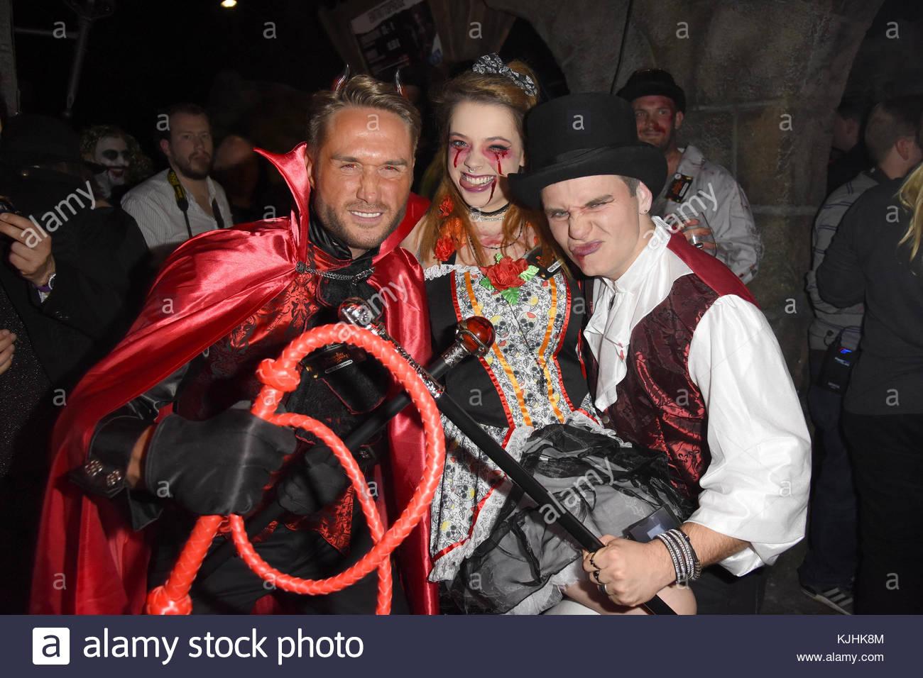 Halloween Party hosted by Natascha Ochsenknecht at Berlin Dungeon.  Featuring: Nico Schwanz, Anne Wuensche, Henning - Stock Image