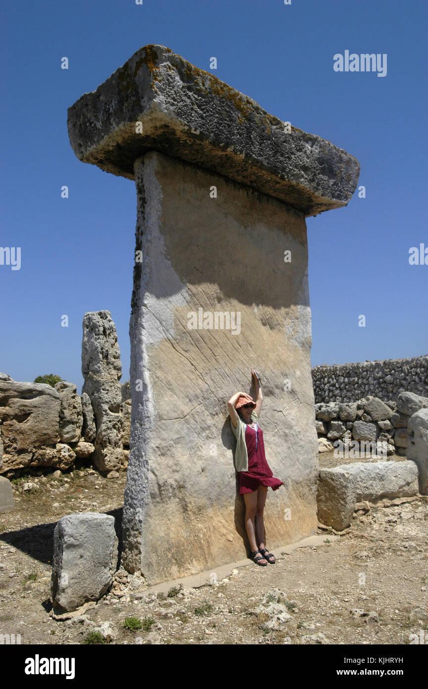 Taula in the Talayotic site of Trepuco Menorca, - Stock Image