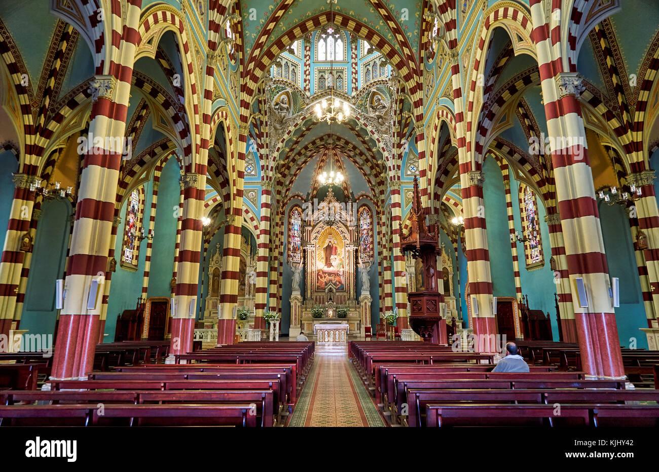interior shot of church Santuario Nuestra Senora del Carmen, Bogota, Colombia, South America - Stock Image