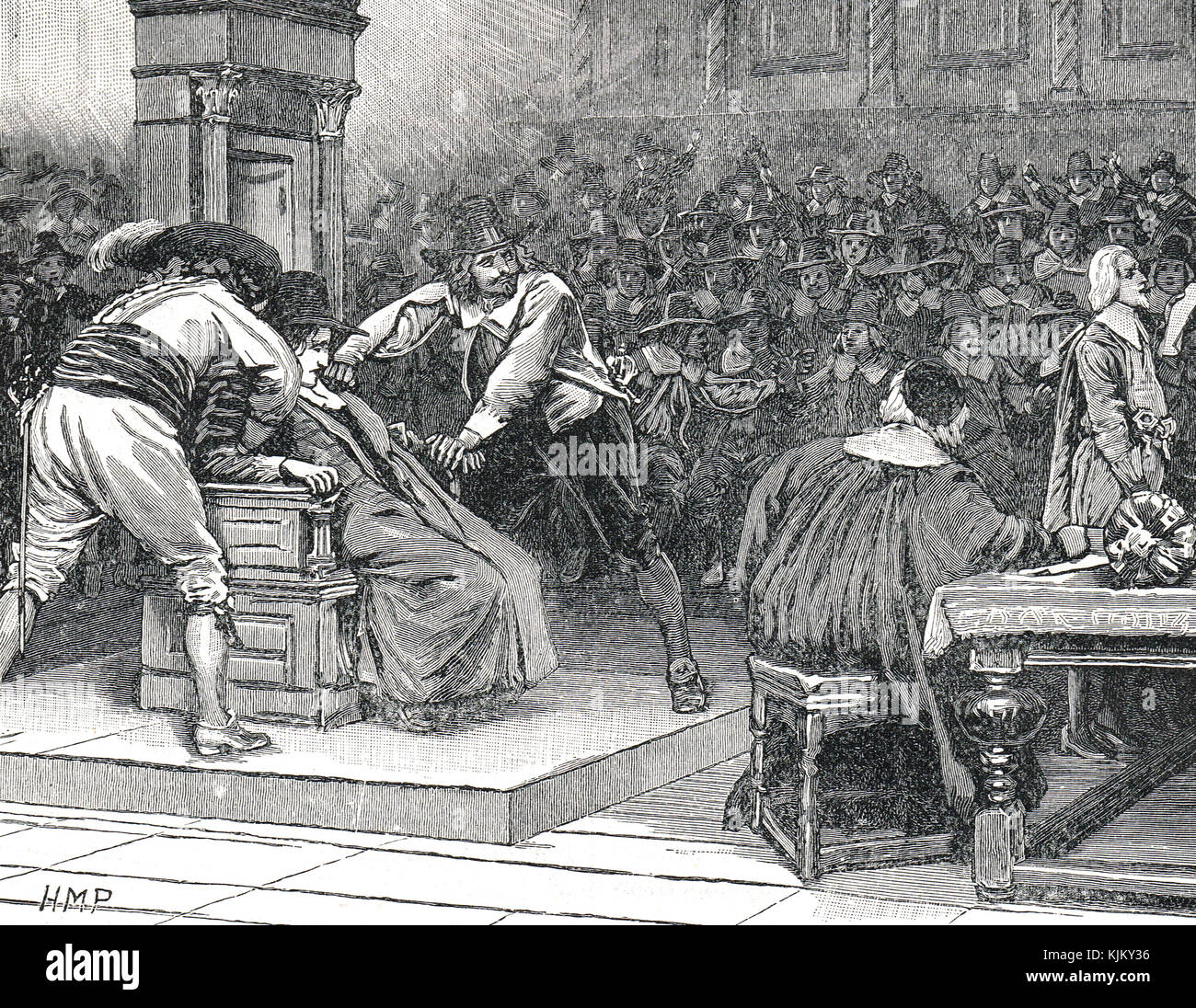 Speaker Finch imprisoned, 2 March 1629 and prevented from adjourning the house on the King's orders.  Held down - Stock Image