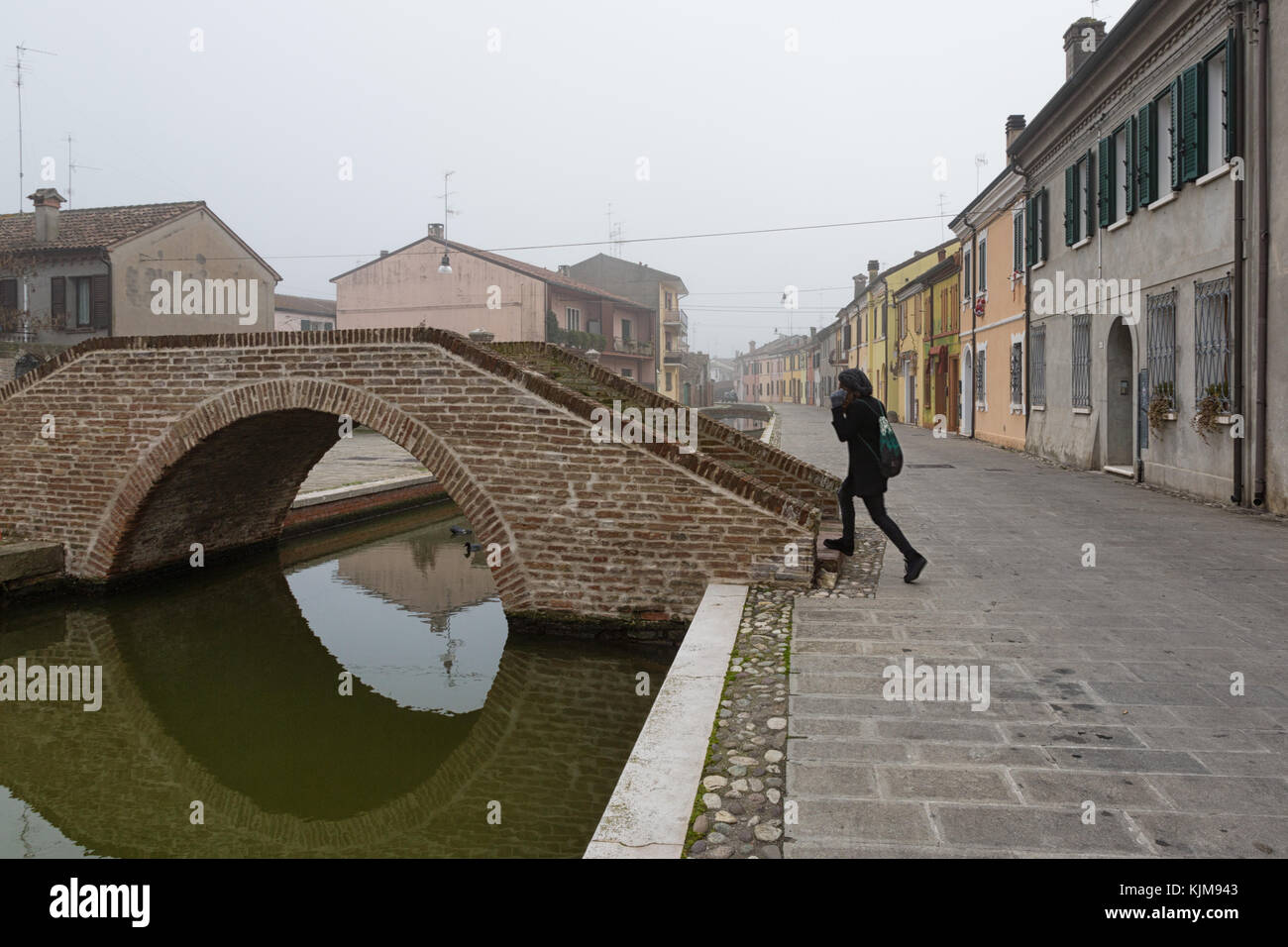 Comacchio (Italy) - Characteristic and fascinating historic town in the Park of the Po Delta, with its canals and - Stock Image