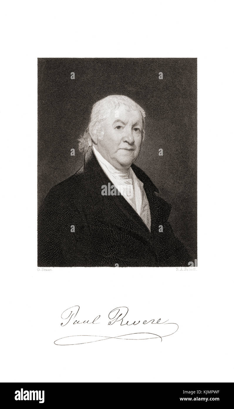 Paul Revere, 1734-1818.  Patriot in the American Revolution, famed for his ride in April 1775 to alert colonial - Stock Image