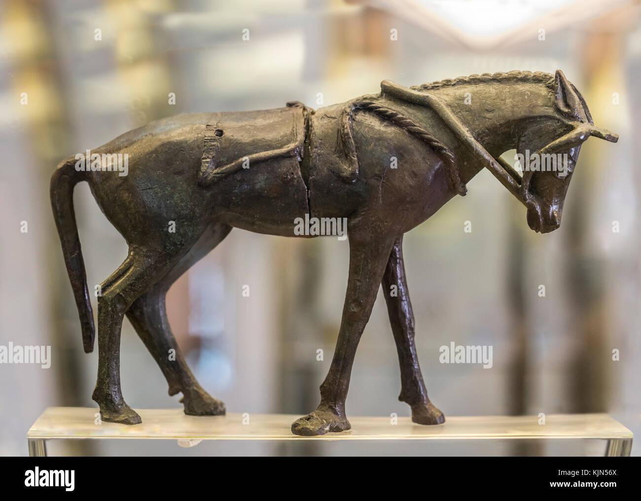 Badajoz, Spain - January 29, 2011: Horse figurine from Tartessian Sanctuary-Palace of Cancho Roano, Zalamea de la - Stock Image