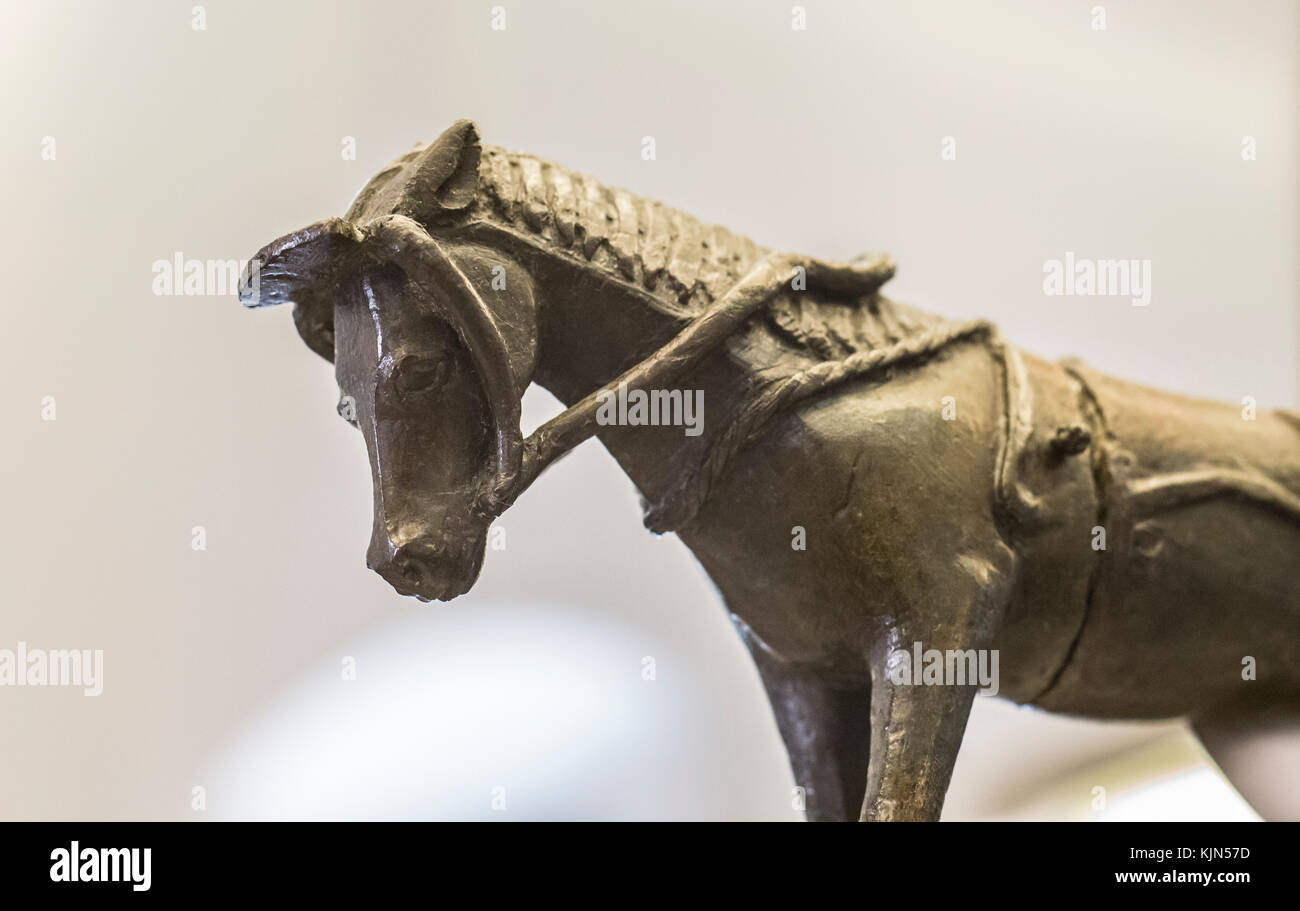 Badajoz, Spain - January 29, 2011: Detail of Horse figurine from Cancho Roano, Zalamea de la Serena, Spain. Badajoz - Stock Image