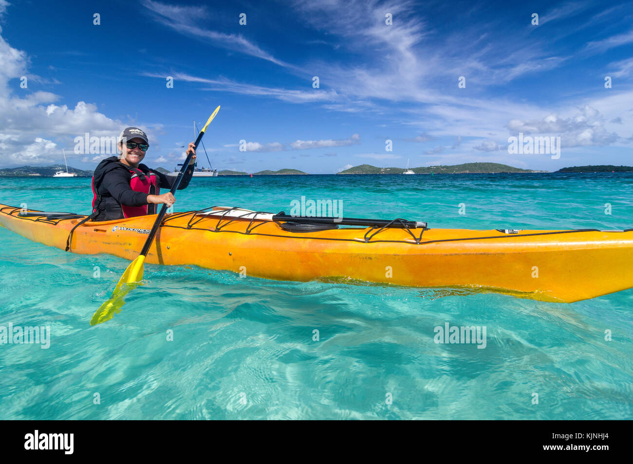 Kayaking off Honeymoon Beach - Stock Image