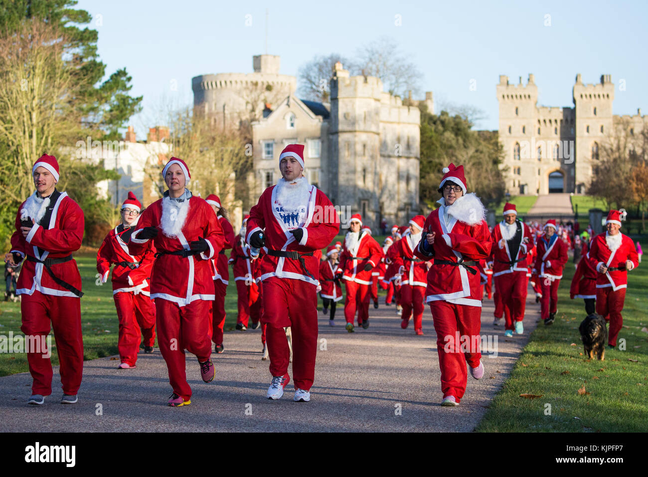 Windsor, UK. 25th November, 2017. Runners dressed as Santa Claus and his reindeer on the Long Walk in Windsor Great - Stock Image