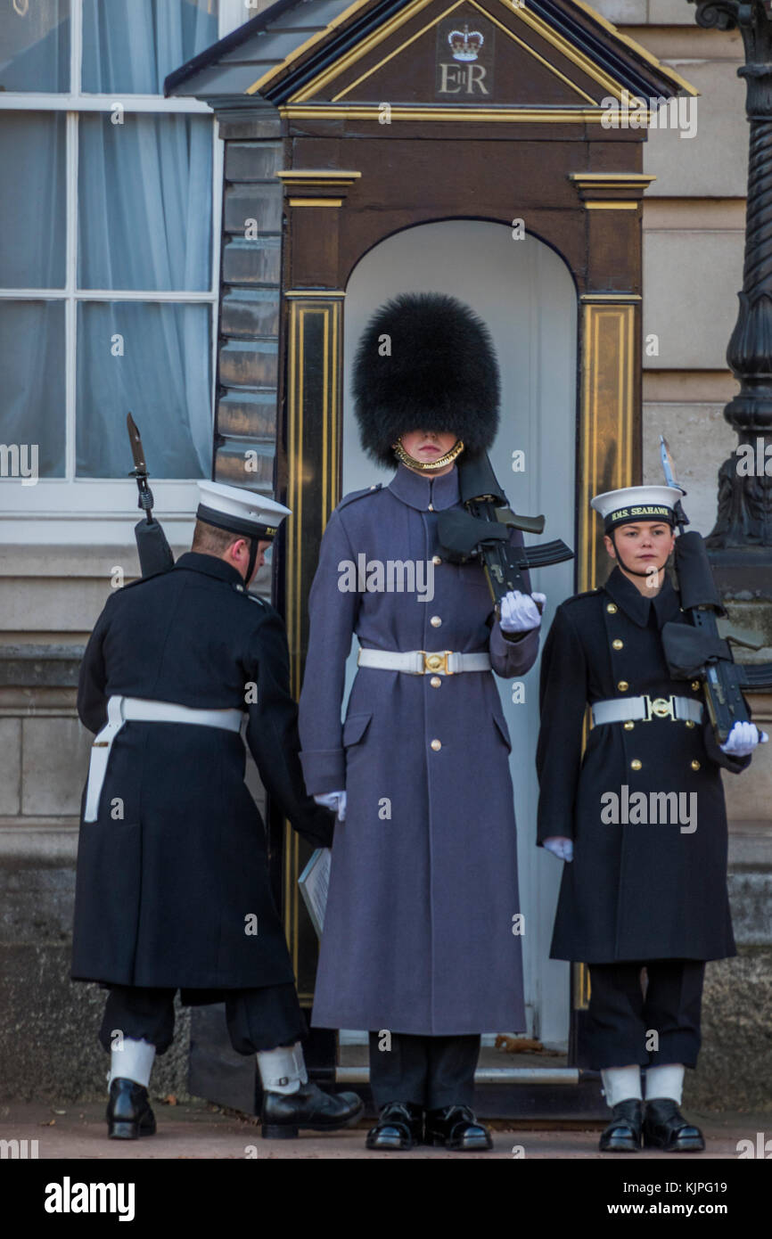 London, UK. 26th Nov, 2017. The Royal Navy take over the guard duty at Buckingham Palace for the first time. They - Stock Image
