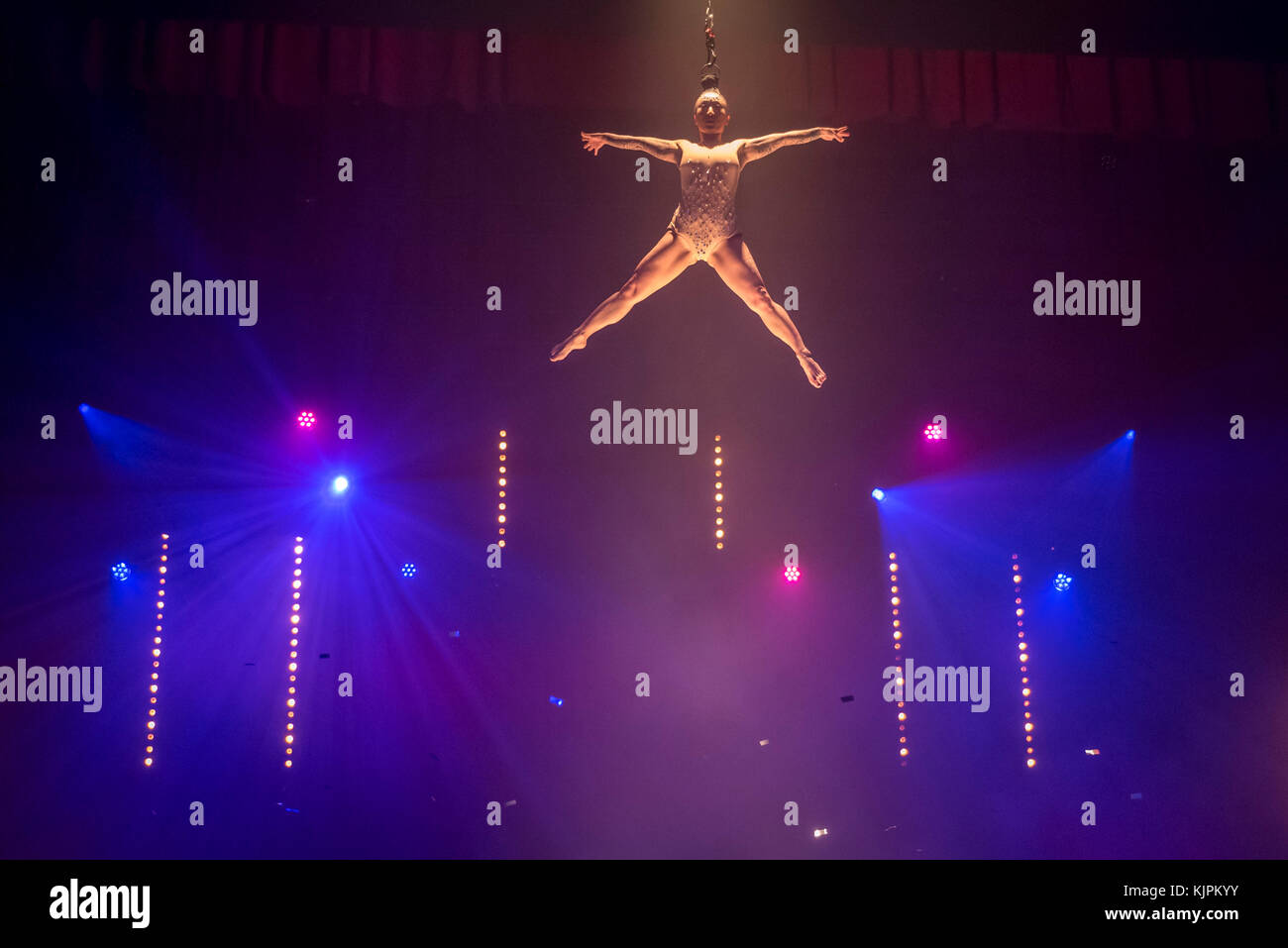 London, UK.  27 November 2017. Fancy Chance performs a hairhang.  Photocall for a preview of 'La Soirée' - Stock Image