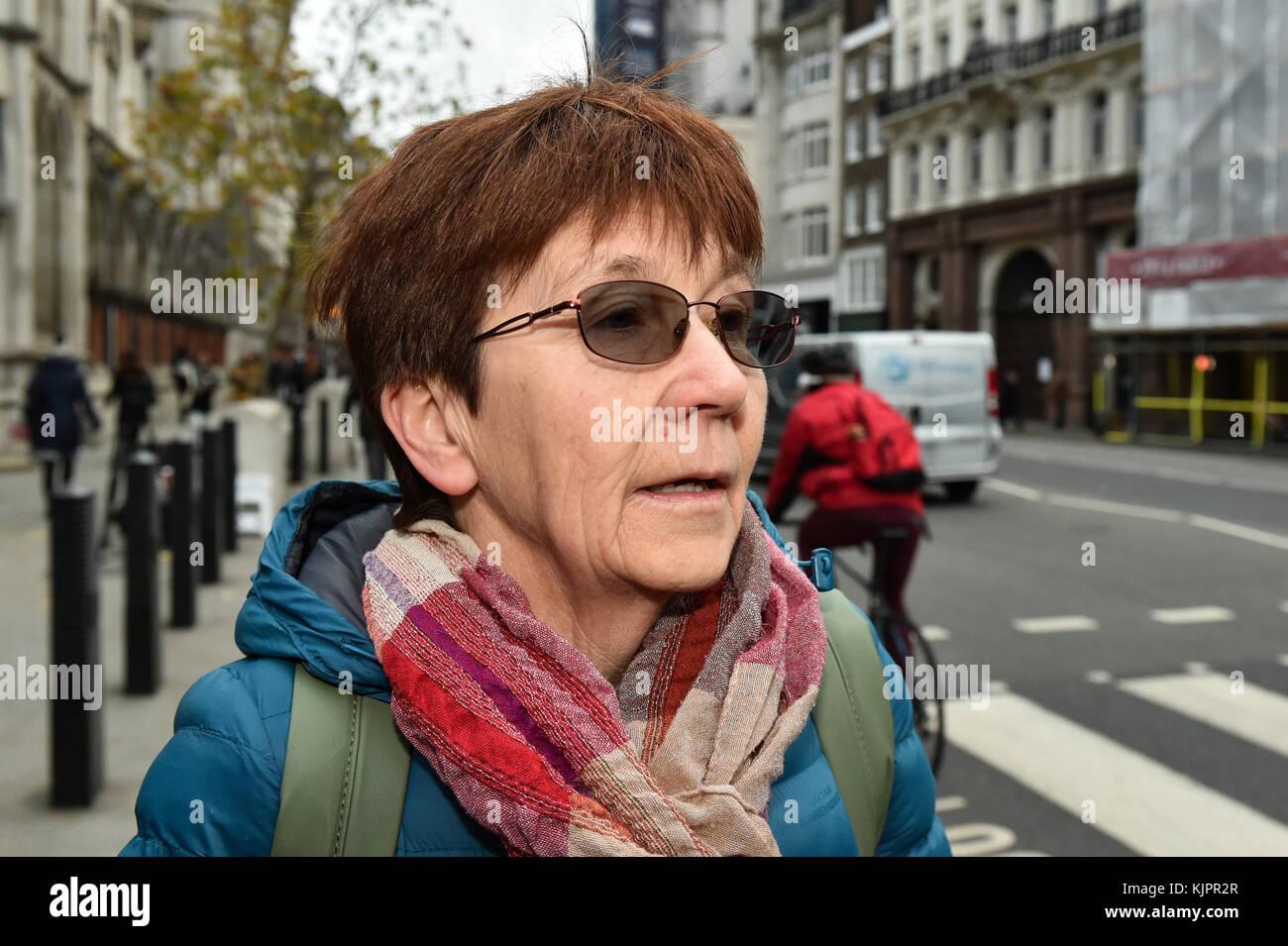 London, United Kingdom. 29 November 2017. Sirkka-Liisa Love talks to the press as her son Lauri Love arrives at - Stock Image
