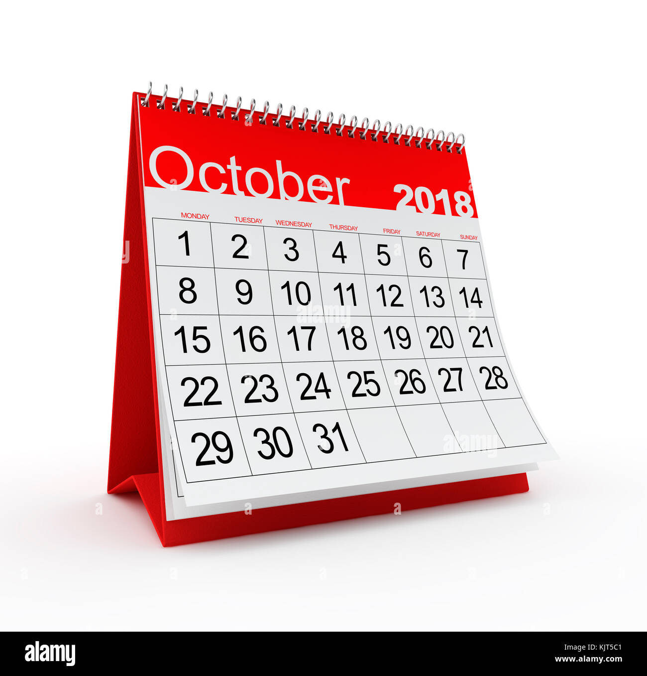 October 2018 Monthly Calendar 3d Rendered Illustration