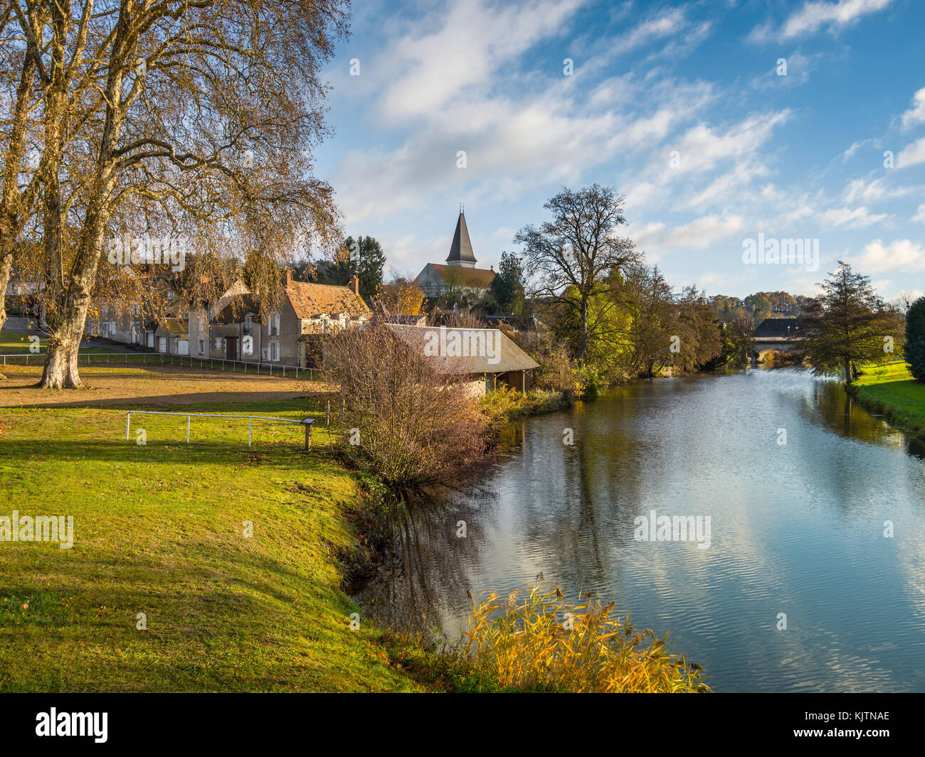 Riverside view of Preuilly-sur-Claise, France. - Stock Image