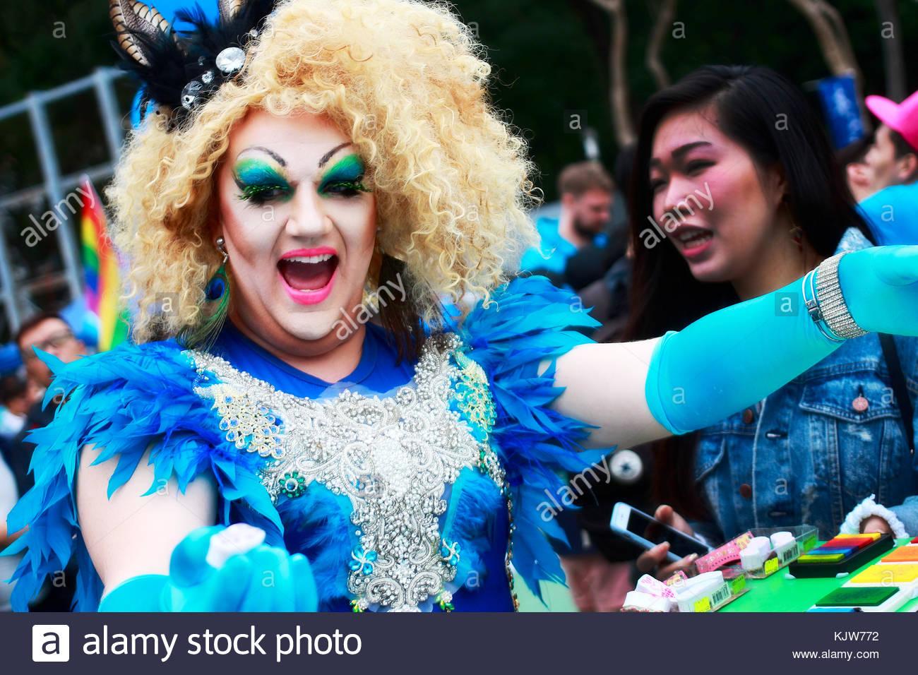 Hong Kong. November 25th, 2017. HONG KONG: A person dresses up during a Pride Parade in Hong Kong on November 25, - Stock Image