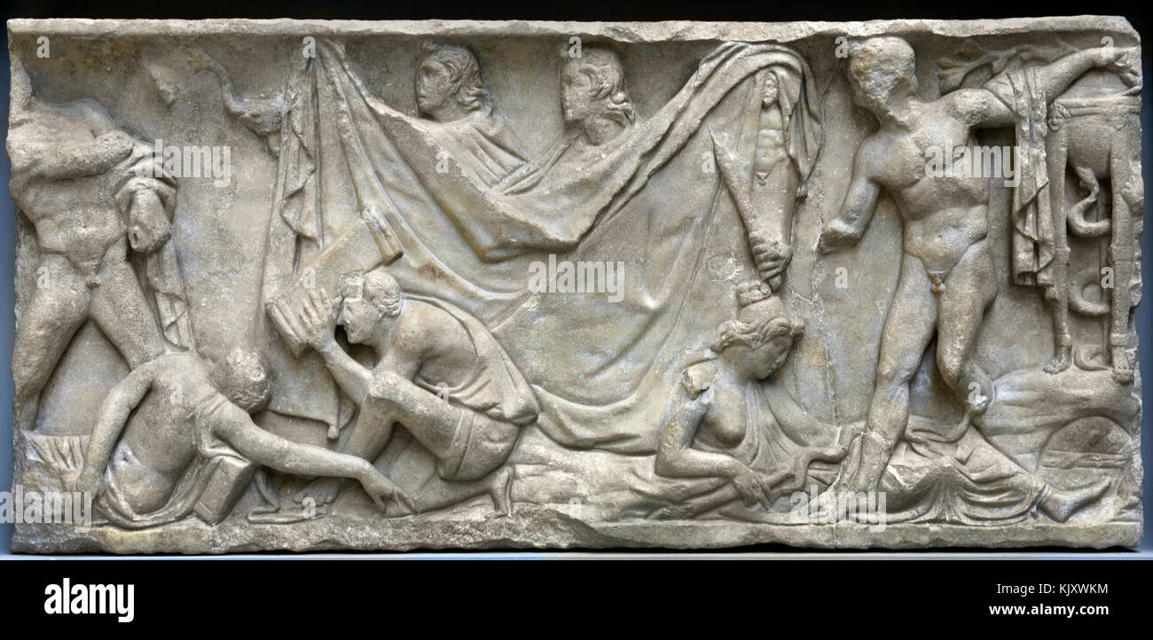 Fragment of a sarcophagus with the Myth of Orestes  3rd century ad   Museo dell'Opera del Duomo Florence Italy - Stock Image