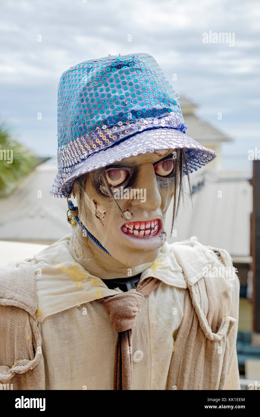 Zombie mannequin on display in Harbor Walk Village at the marina in Destin Florida, USA. - Stock Image