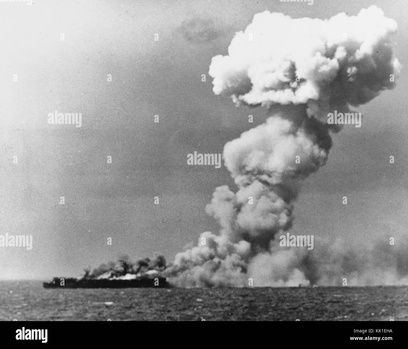 Loss of USS Princeton (CVL-23), 24 October 1944 - Princeton burning soon after she was hit by a Japanese bomb while - Stock Image