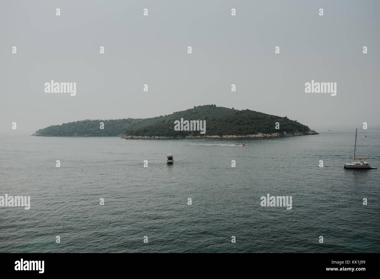Island of Lokrum in front of Dubrovnik, Croatia - Stock Image