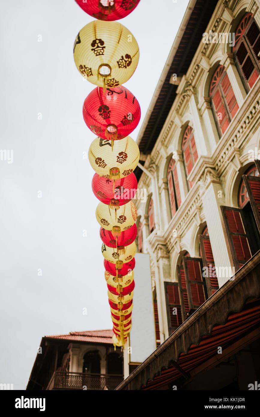 Chinese lanterns celebrating Chinese New Year in Chinatown, Singapore - Stock Image