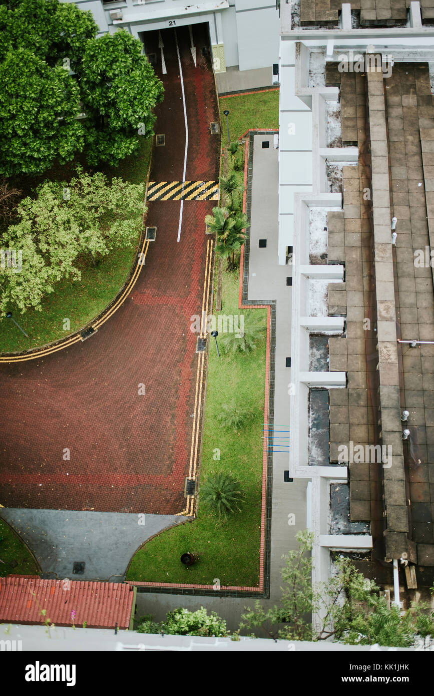 Aerial view of residental street in Singapore - Stock Image