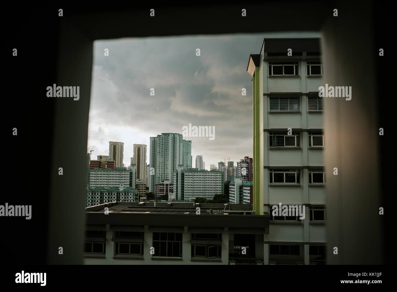 Public residential condominium building complex in Sigapore - Stock Image
