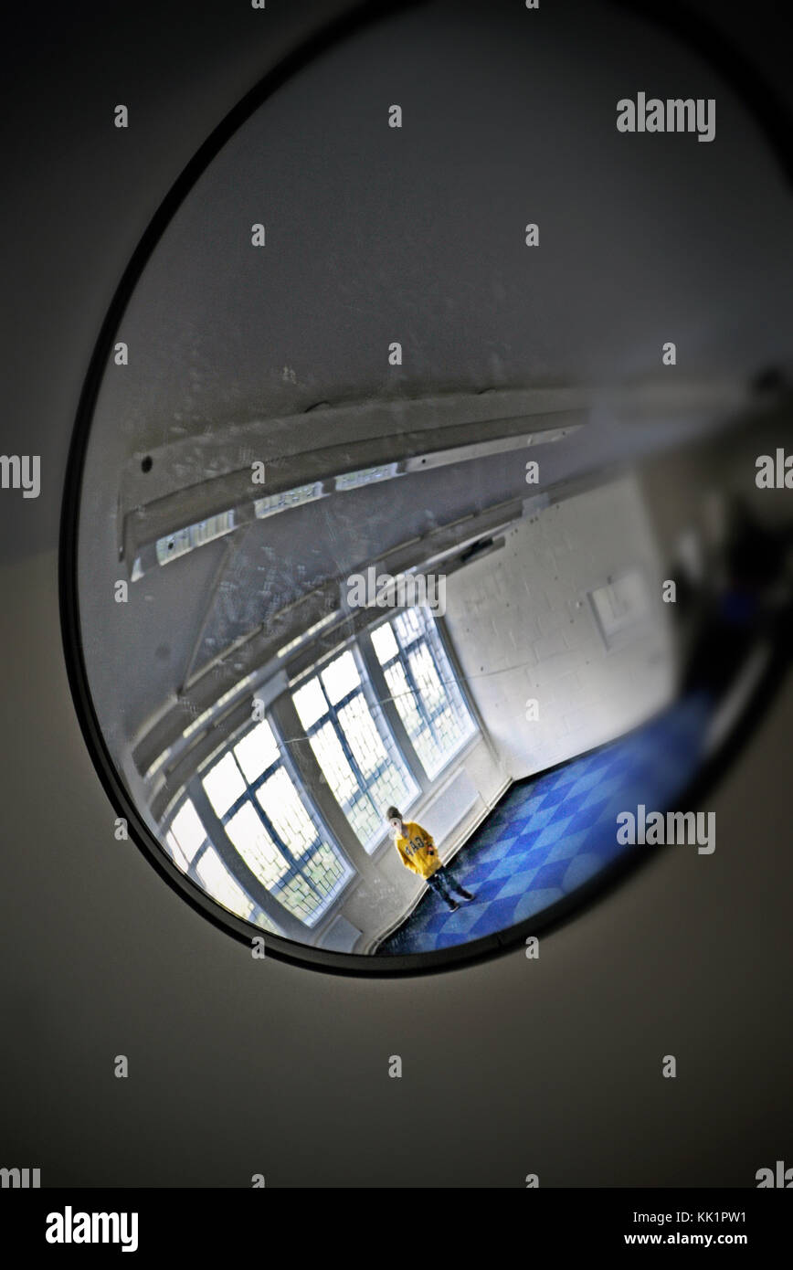 boy in the mirror - Stock Image