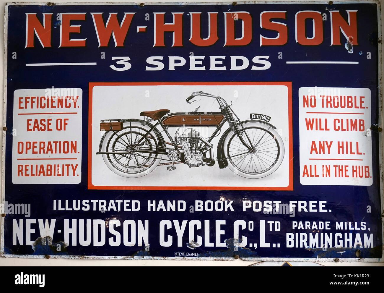new-hudson vintage motorcycle  sign - Stock Image