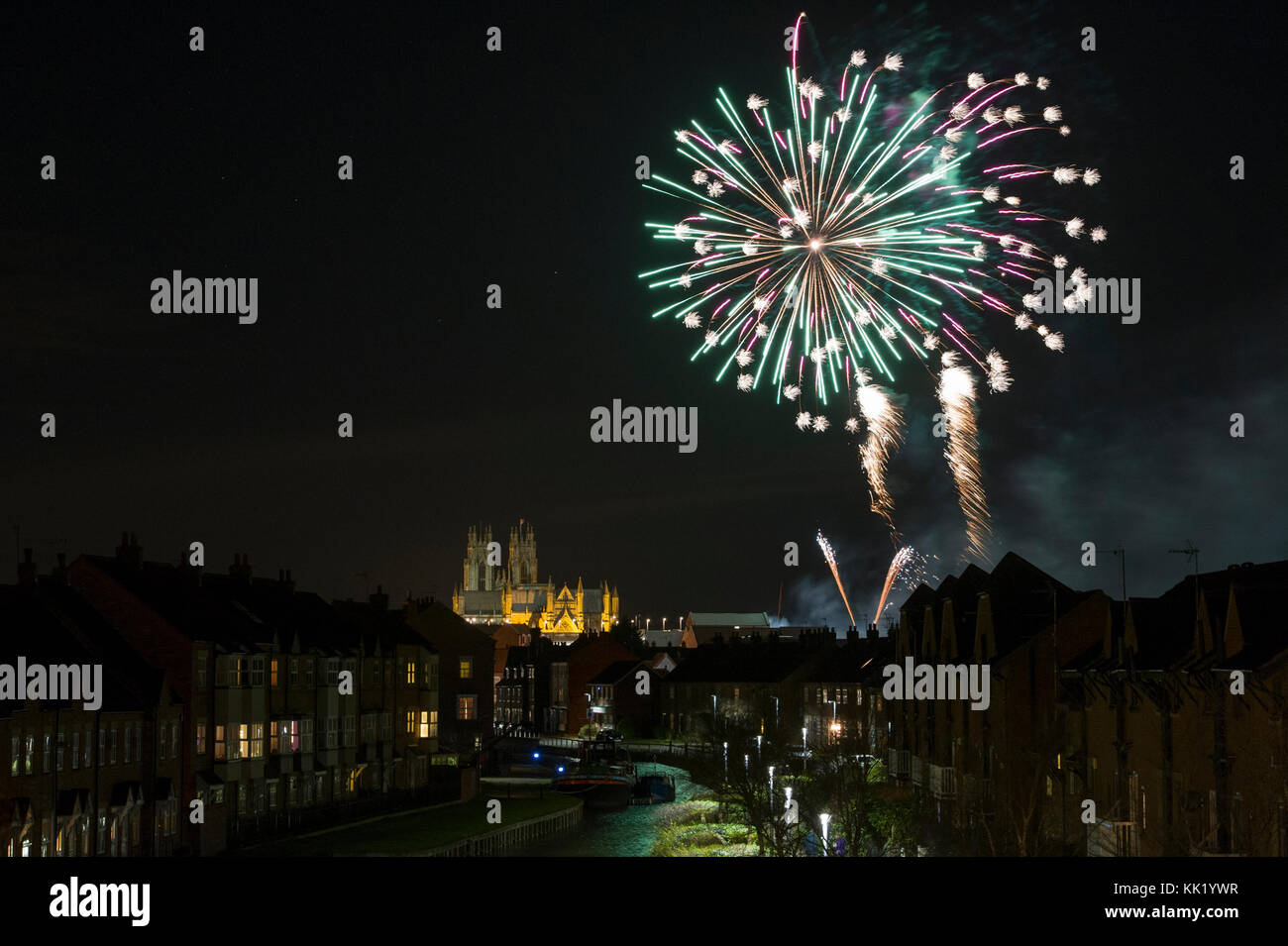 A Fireworks display in the skies over Beverley Minster in East Yorkshire to launch the Flemingate Christmas Lights - Stock Image