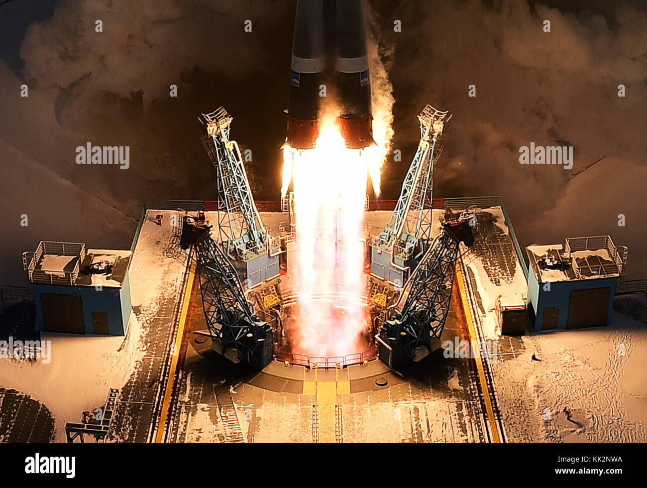 Amur Region, Russia. 28th Nov, 2017. A Soyuz 2.1b rocket booster with a Frigate upper stage block, the Meteor-M - Stock Image