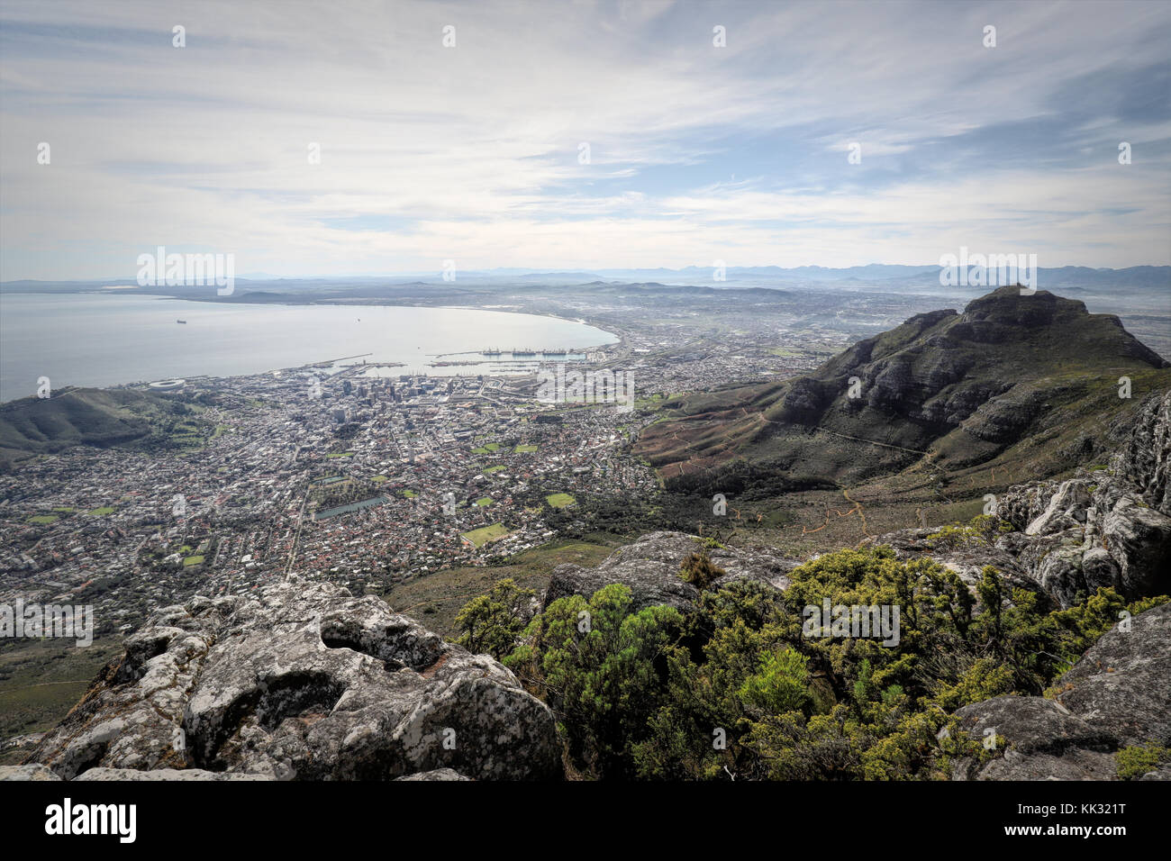 Hiking on the Table Mountain, Cape Town, South Africa - Stock Image