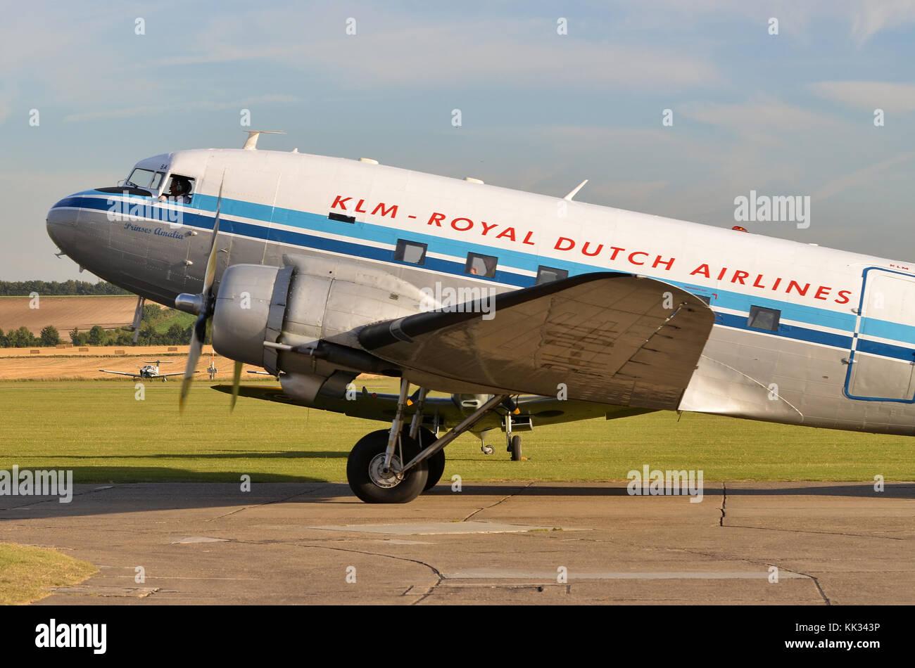 Douglas C-47A Skytrain, KLM Livery, Duxford, UK. The C-47 was the military designation for the DC-3 Dakota. - Stock Image