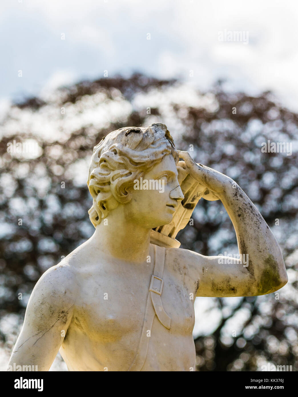 Top of a statue in the grounds at Waddesdon Manor, Buckinghamshire, UK - Stock Image