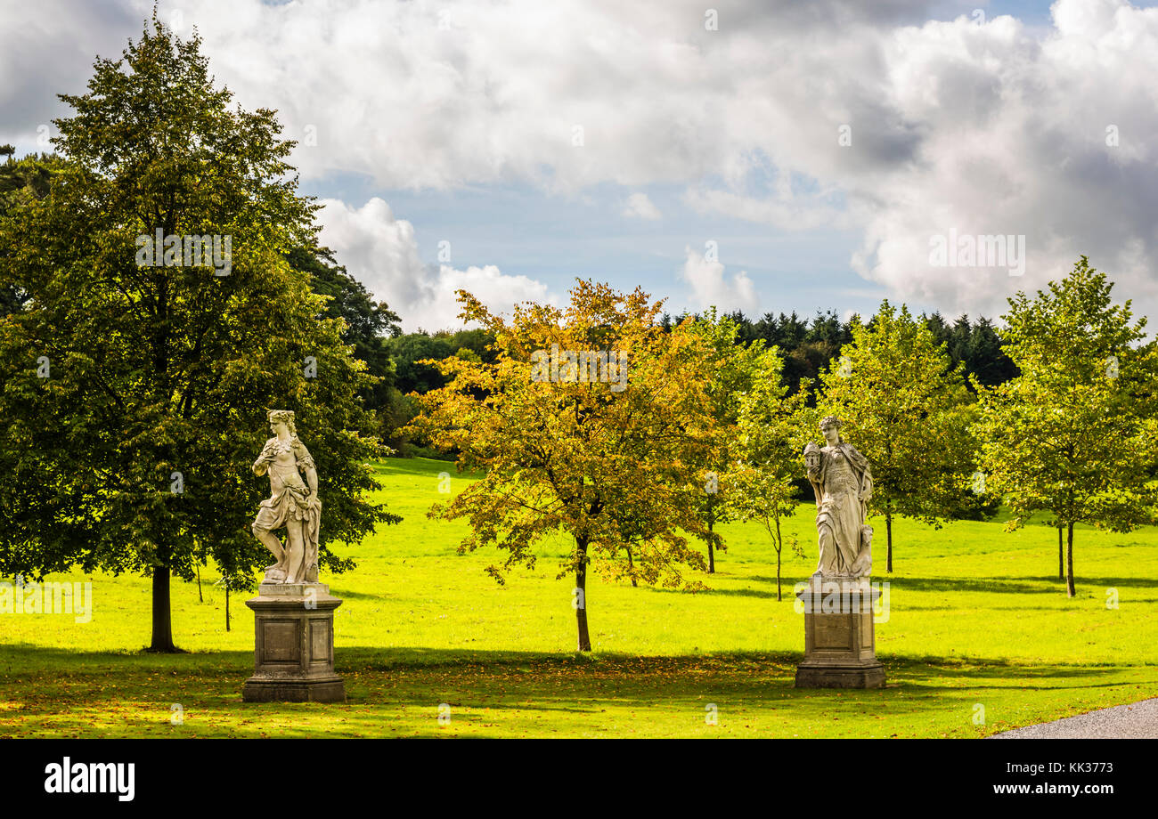 Two statues in the grounds at Waddesdon Manor, Buckinghamshire, UK - Stock Image