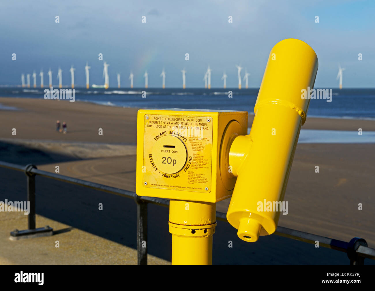 Offshore windfarm and viewing scope at Redcar, North Yorkshire, England UK - Stock Image