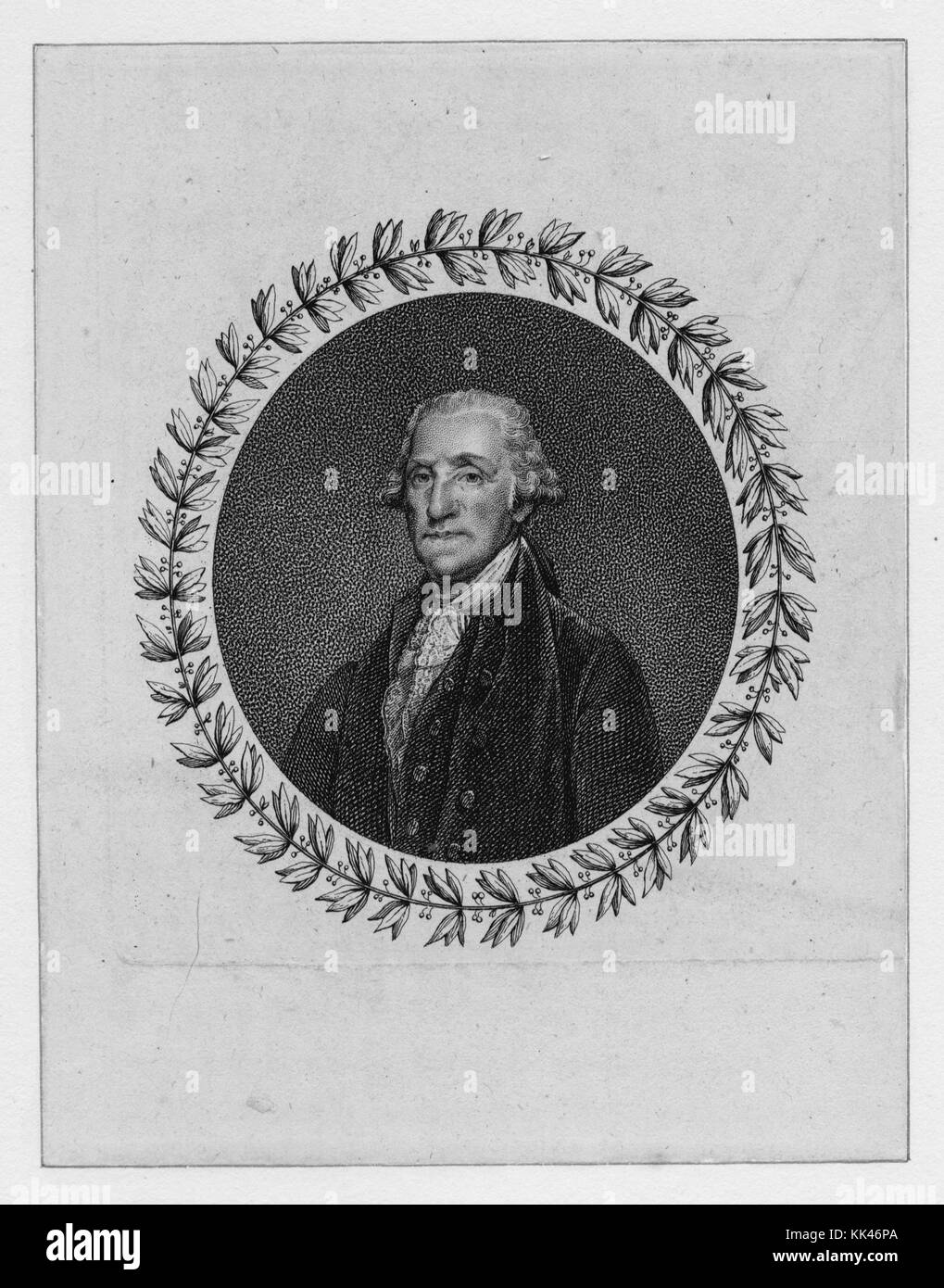 Engraved, oval shaped portrait of George Washington, with a wreath around the border, 3388. From the New York Public - Stock Image