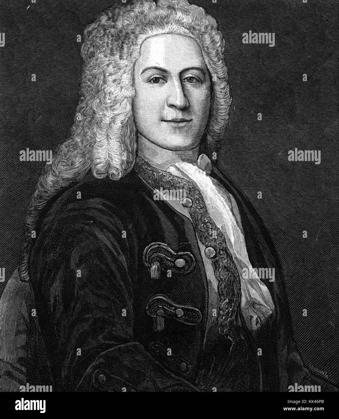Wood engraving portrait of Jonathan Belcher, served as colonial governor of the British colonies of New Hampshire - Stock Image