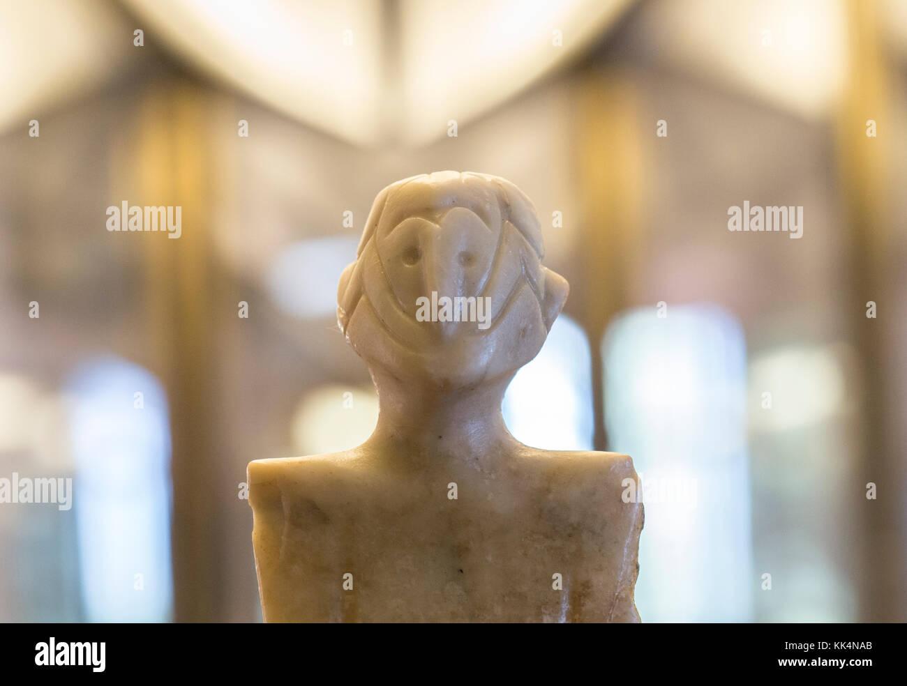 Badajoz, Spain - January 29, 2011: Anthropomorphous idol of Rena, Badajoz. Representation of deity belong to Chalcolithic - Stock Image