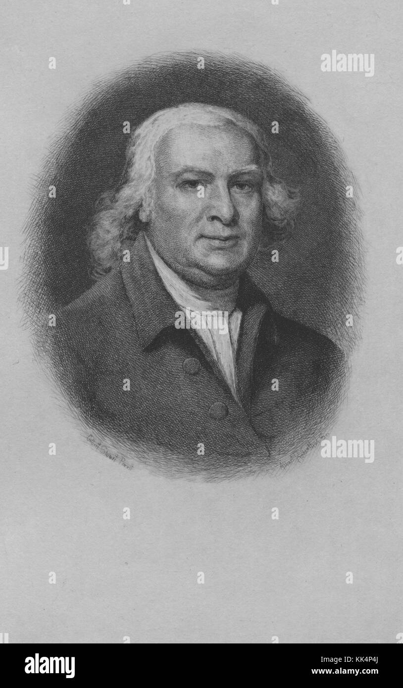 An etching from portrait of Robert Morris, he was a Founding Father of the United States, he signed the Declaration - Stock Image