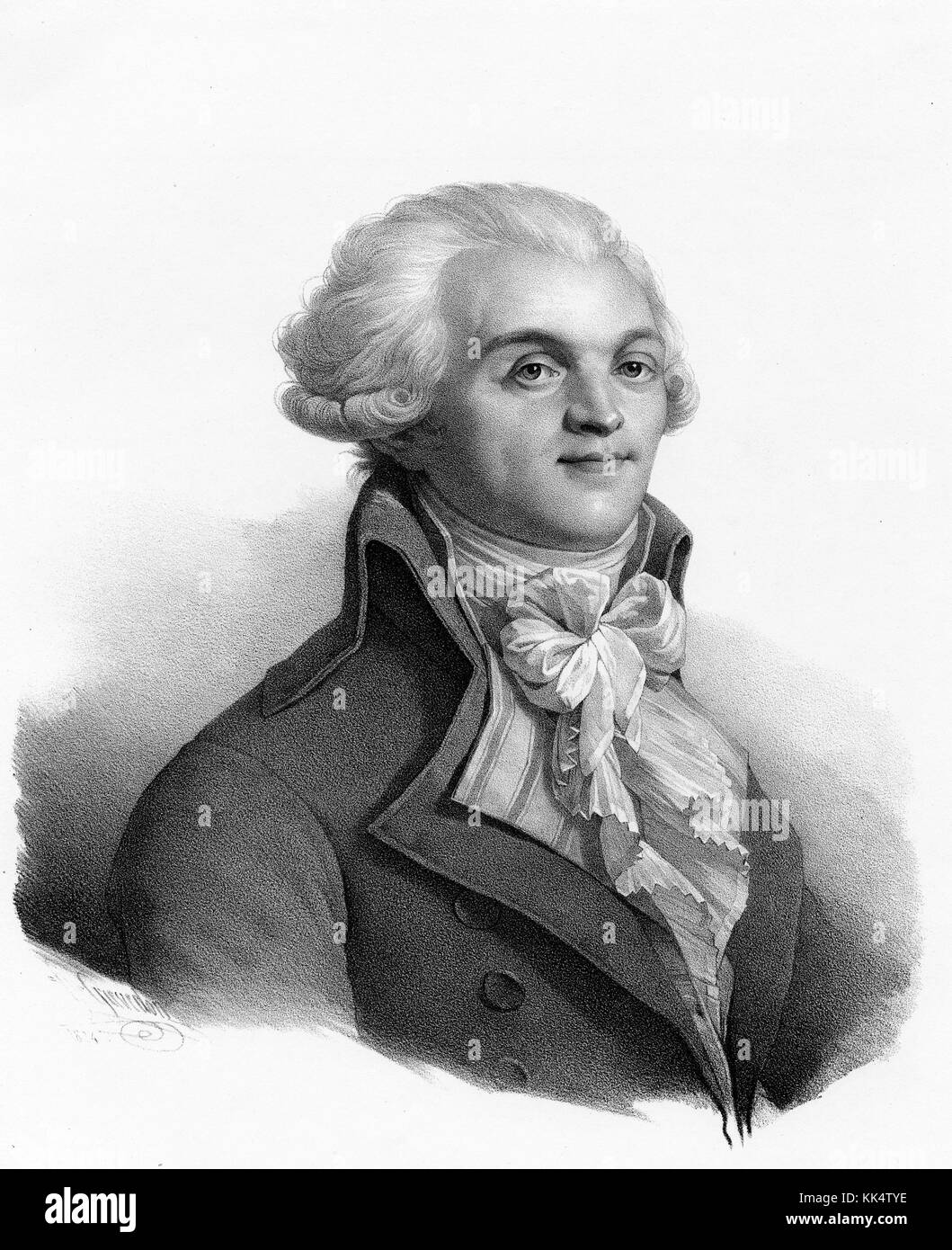 An engraving from a portrait of Maximilien Robespierre, he was a French lawyer and politician, he was known for - Stock Image