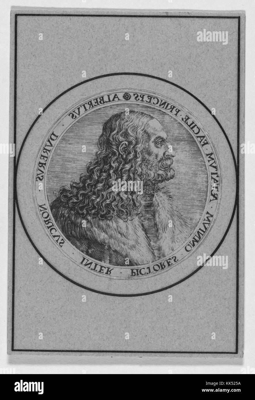 Engraved portrait of Albrecht Durer, was a painter, printmaker and theorist of the German Renaissance, 1550. From - Stock Image