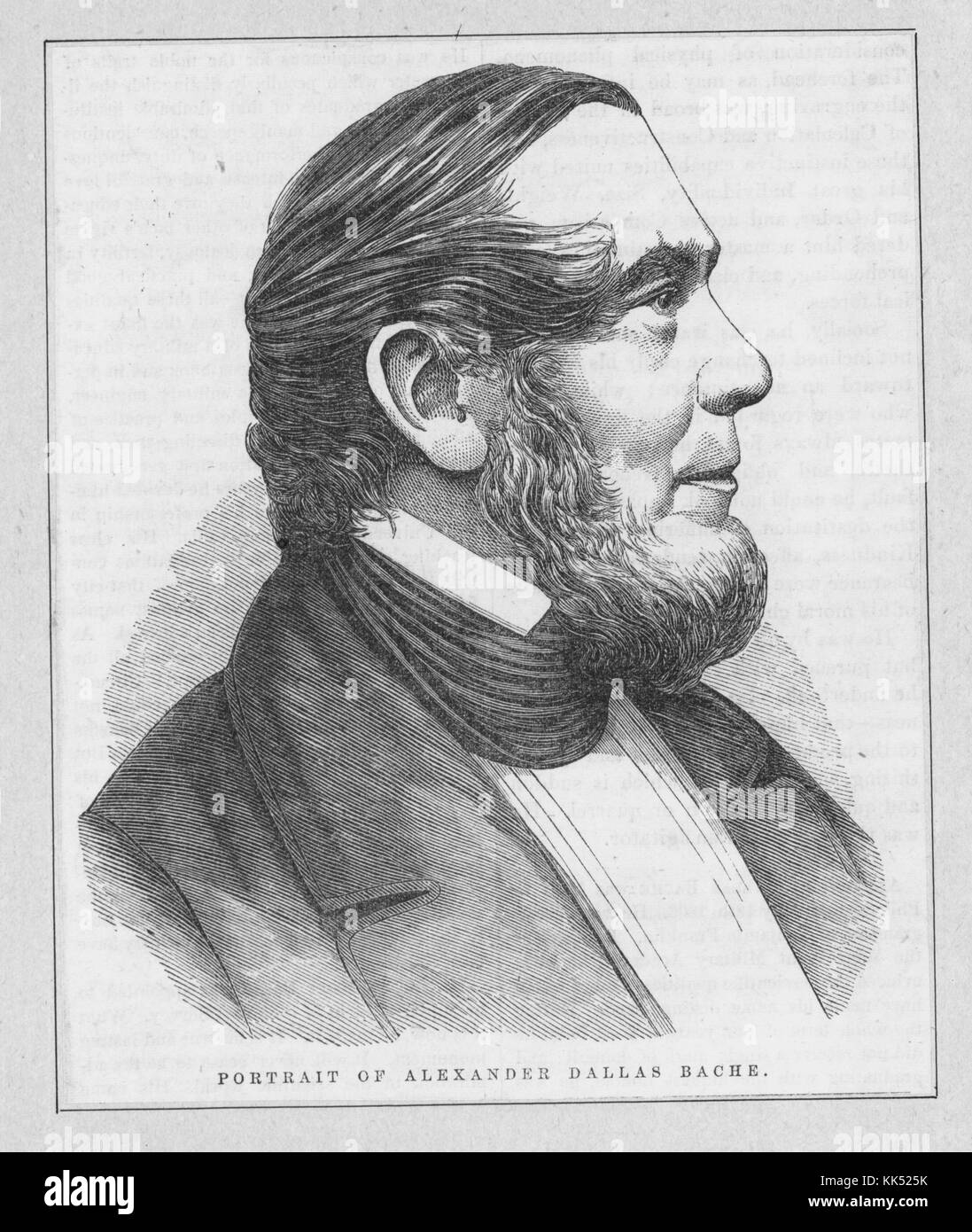 Wood engraving, portrait of Alexander Dallas Bache, an American physicist, scientist, and surveyor who erected coastal - Stock Image
