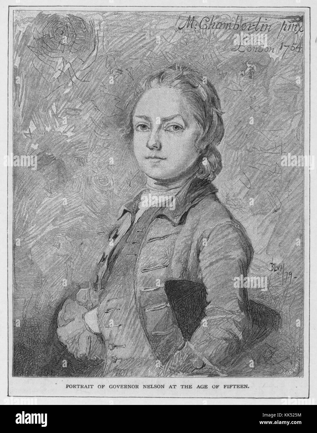Wood engraving portrait of Thomas Nelson, Junior, a planter, statesman, and soldier, signer of the Declaration of - Stock Image