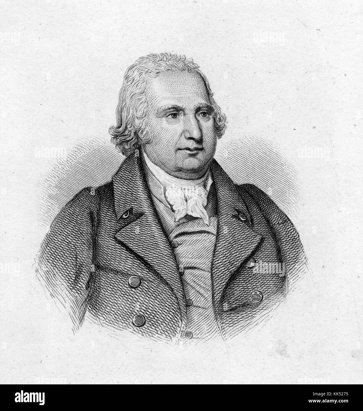 Engraved portrait of John Eager Howard, member of the Continental Congress and former Governor of Maryland, 1840. - Stock Image