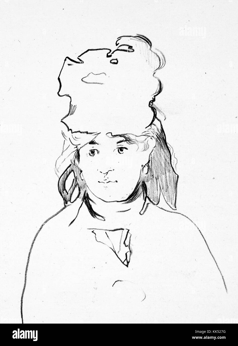 A lithograph from a portrait of Berthe Morisot, she was a French painter that was a member of group of artists who - Stock Image