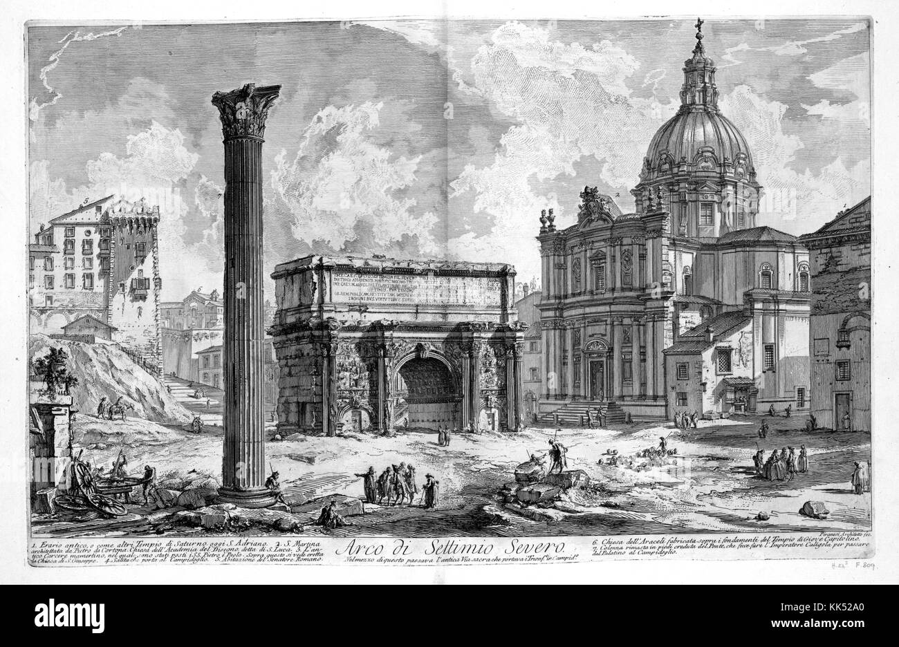 An etching depicting the Arch of Septimius Severus, the structure was built in 203 AD to celebrate the military - Stock Image