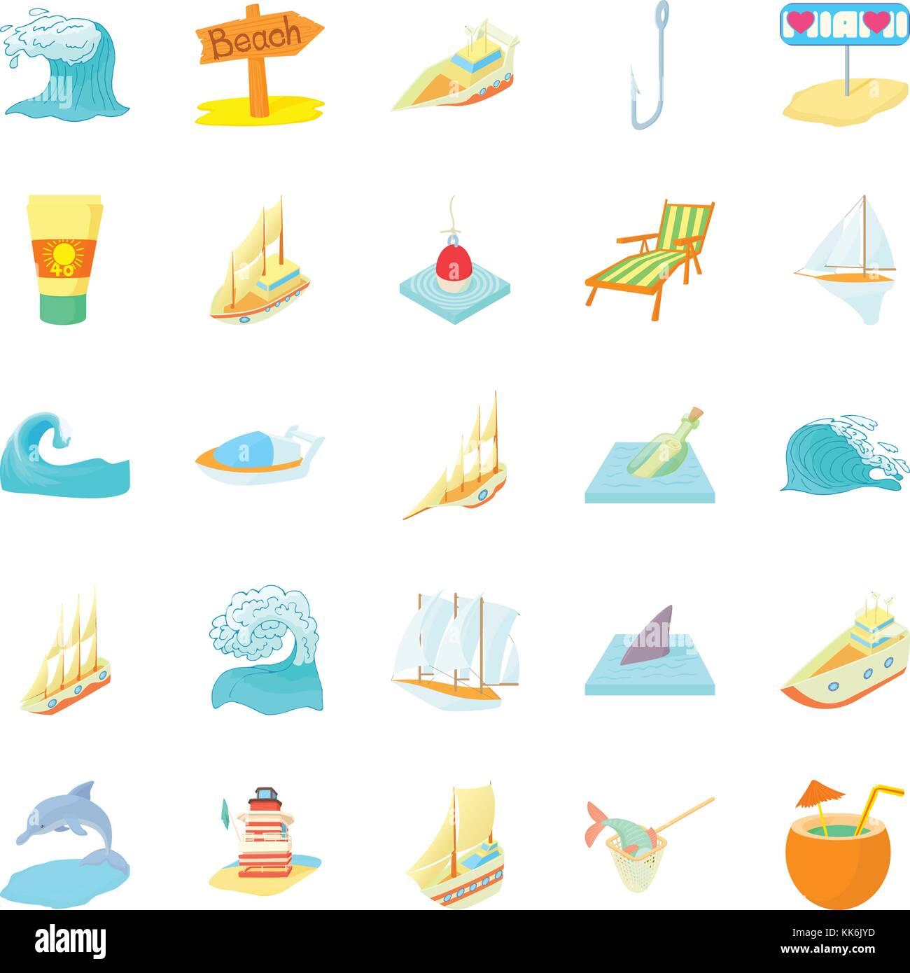 Seafaring icons set, cartoon style - Stock Image