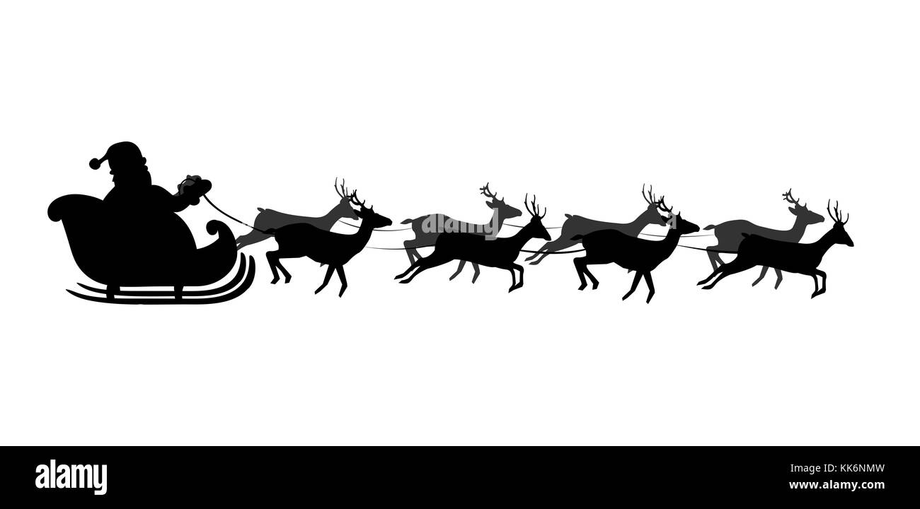 Black silhouette of Santa's sledge Isolated on white background. Vector illustration, icon, clip art. - Stock Image