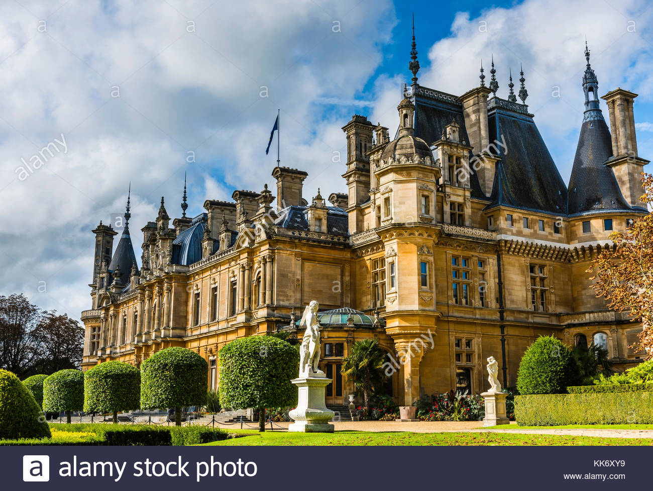 French-style chateau at Waddesdon Manor, Buckinghamshire, UK - Stock Image