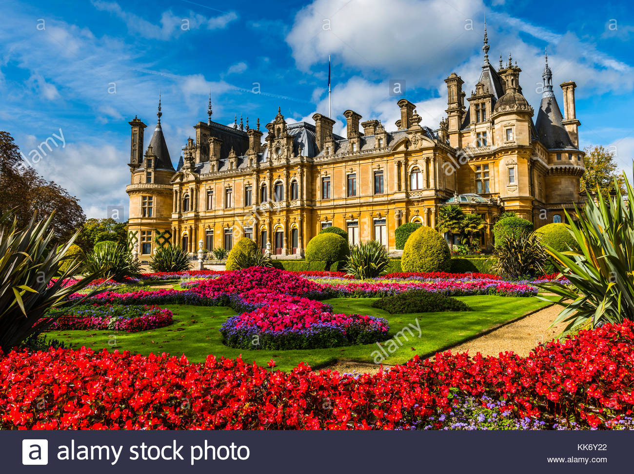 French-style chateau and parterre at Waddesdon Manor, Buckinghamshire, UK - Stock Image