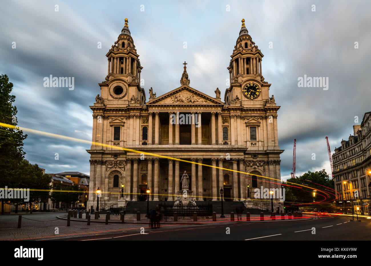 Car lights around sunset at St Paul's Cathedral, London, UK - Stock Image